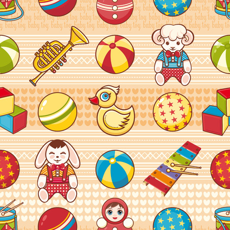 simple girl: Kid toy seamless pattern. Design element for postcard, banner, flyer, poster or print.