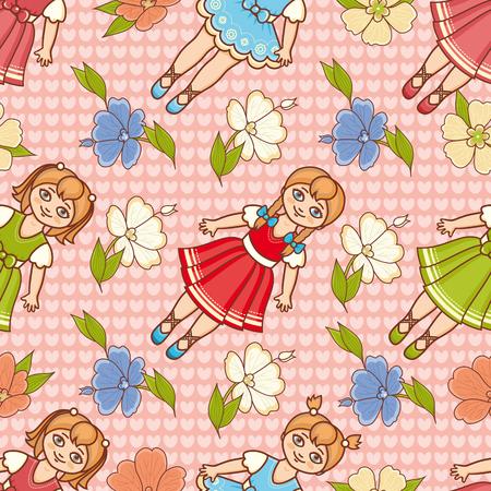 Little Ballerina and Flower. Cartoon style. Seamless pattern. Baby Doll. Colorful background. Botanical ornament. Illusztráció
