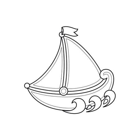 little sailboat. Childrens toy.  Best for alphabet Illustration
