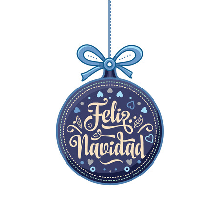 Feliz navidad. Xmas card on Spanish language. Warm wishes for happy holidays in Spain. English translation: Merry Christmas. 版權商用圖片 - 83979857