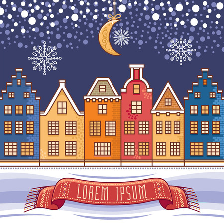 Template for New Year  and Christmas cards. Holiday colorful decor. Vector. Here could be your text