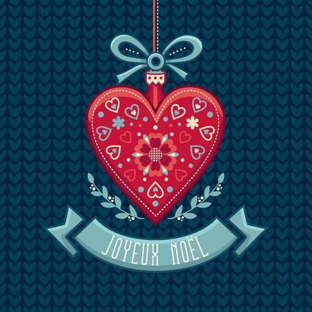 French Merry Christmas Joyeux Noel. Greeting Card Illustration