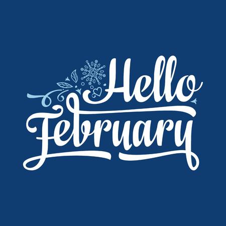 Ciao cartolina di febbraio. Decorazioni colorate per le vacanze Vettore Vettoriali