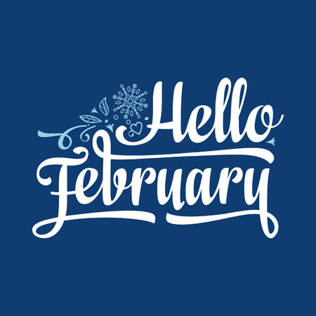 Hello February card. Holiday colorful decor. Vector Stok Fotoğraf - 84046743