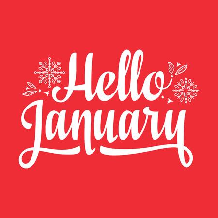 Hello Janary card. Holiday colorful decor. Vector
