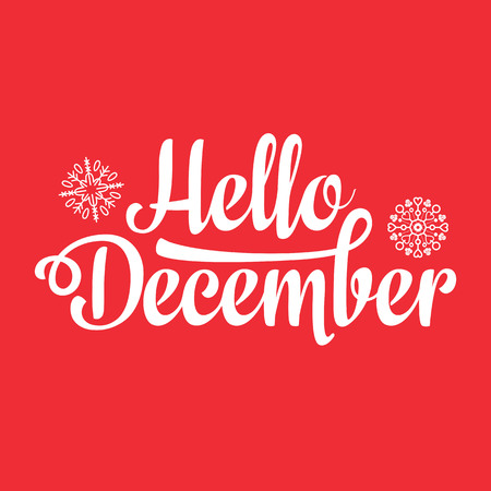 Hello December card. Holiday colorful decor. Vector