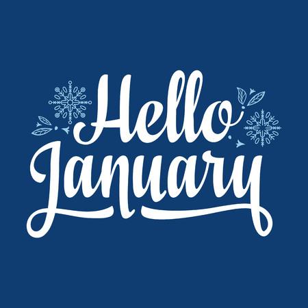 1 月カードこんにちは。休日のカラフルな装飾。ベクトルの図。