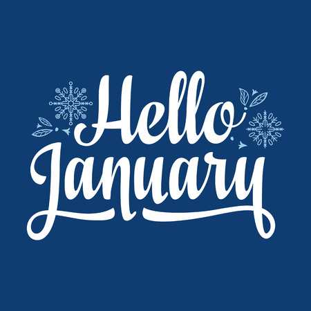 Hello January card. Holiday colorful decor. Vector illustration.