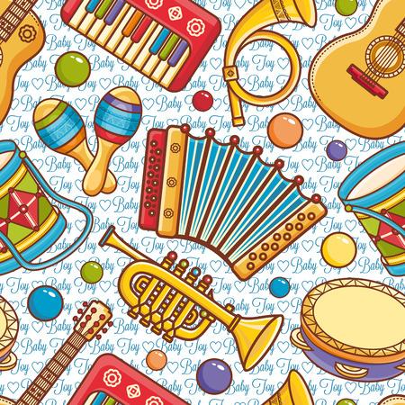 Musical instrument.  Seamless pattern. Vector ornament. Cartoon style.