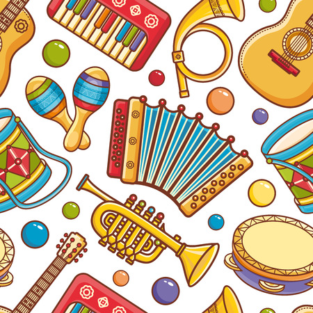 Musical instrument.  Seamless pattern. Vector ornament. Cartoon style. Stok Fotoğraf - 84216443