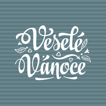 Vesele vanoce. Lettering text for greeting cards. Christmas in the Czech Republic. Translation from Czech - merry Christmas! Illustration