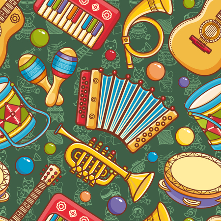 Musical instrument.  Seamless pattern. Vector ornament. Cartoon style. Stok Fotoğraf - 84255629