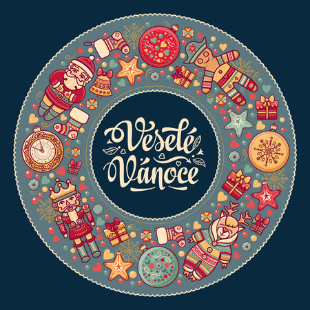 Vesele vanoce -  greeting cards. Xmas in the Czech Republic. Translation from Czech - merry Christmas!