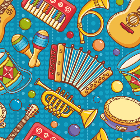 Musical instrument.  Seamless pattern. Vector ornament. Cartoon style.