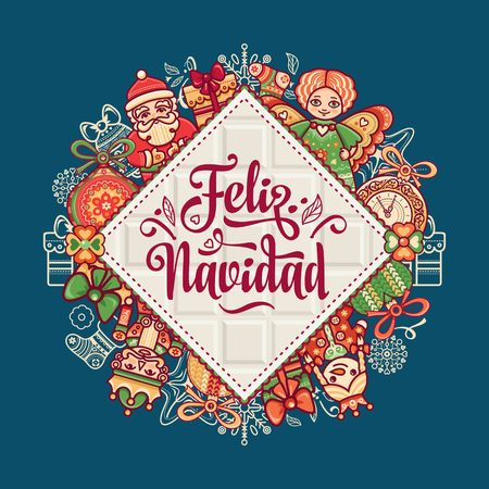 Christmas decorations for invitations and greeting cards. Winter toy. Feliz navidad. Xmas card on Spanish language. Warm wishes for happy holidays in Spain. English translation: Merry Christmas. Ilustração