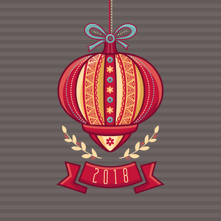 Chinese Flashlight. Greeting Card. Winter Holidays. Best for Chinese New Year Illustration