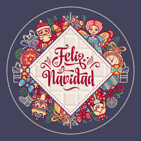 Christmas decorations for invitations and greeting cards. Winter toy. Feliz navidad. Xmas card on Spanish language. Warm wishes for happy holidays in Spain. English translation: Merry Christmas. Illustration