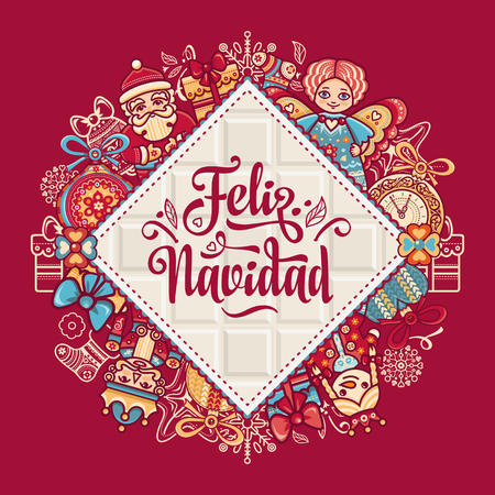 Christmas decorations for invitations and greeting cards. Winter toy. Feliz navidad. Xmas card on Spanish language. Warm wishes for happy holidays in Spain. English translation: Merry Christmas. Stock fotó - 84719355