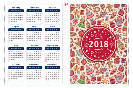 2018. Calendar grid template. 12 month calendar. Çizim