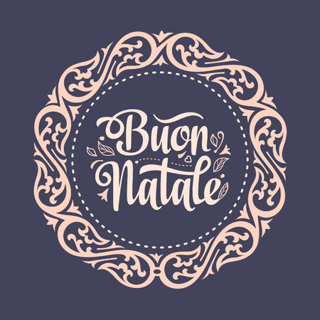 tile: Buon Natale. Christmas template. Greeting card. Winter holiday in Italy. Congratulation on Italian. Vintage style. Illustration