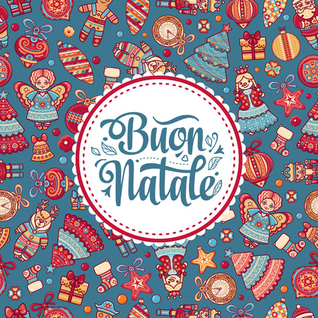 Buon Natale. Christmas template. Greeting card. Winter holiday in Italy. Congratulation on Italian. Vintage style. 向量圖像