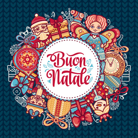 Buon Natale. Christmas template. Greeting card. Winter holiday in Italy. Congratulation on Italian. Vintage style. Illustration
