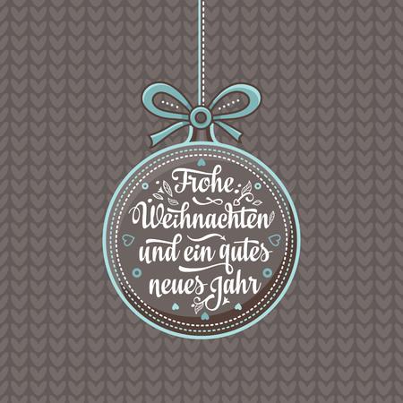 Frohe Weihnacht.  Xmas Congratulations in German language. Christmas in Belgium, Austria, Liechtenstein, Switzerland. Happy Christmas in Deutschland. Vettoriali