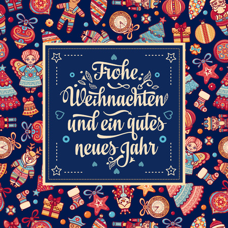 Frohe Weihnacht.  Xmas Congratulations in German language. Christmas in Belgium, Austria, Liechtenstein, Switzerland. Happy Christmas in Deutschland. Ilustração