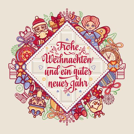 Frohe Weihnacht. Xmas Congratulations in German language. Christmas in Belgium, Austria, Liechtenstein, Switzerland. Happy Christmas in Deutschland. Vektoros illusztráció