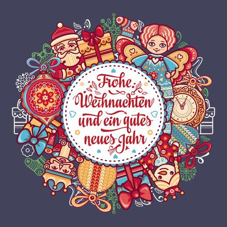 Frohe Weihnacht.  Xmas Congratulations in German language. Christmas in Belgium, Austria, Liechtenstein, Switzerland. Happy Christmas in Deutschland. Иллюстрация