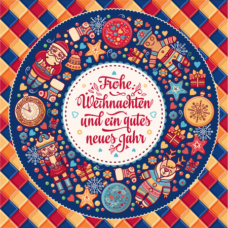 Frohe Weihnacht.  Xmas Congratulations in German language. Christmas in Belgium, Austria, Liechtenstein, Switzerland. Happy Christmas in Deutschland. Illustration