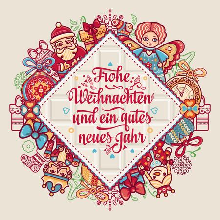 Frohe Weihnacht.  Xmas Congratulations in German language. Christmas in Belgium, Austria, Liechtenstein, Switzerland. Happy Christmas in Deutschland. Illustration