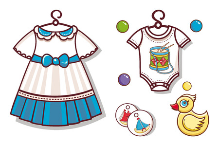 Items for children. Isolated vector. Clothes dress and pajamas for girls. Toys ball and yellow duck Illustration