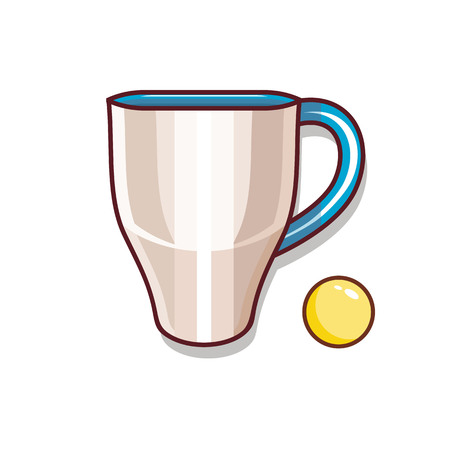 Cup of tea and a yellow ball illustration for children isolated vector style Illustration