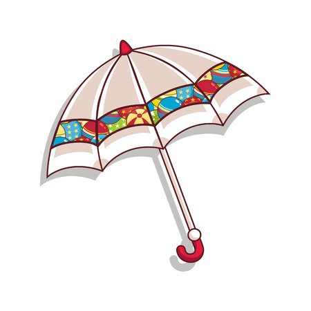 Colorful cartoon of an umbrella illustration on white background