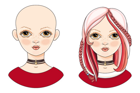 Avatar beautiful girl with an extravagant hairstyle. The girl with Pink hair. Cartoon style