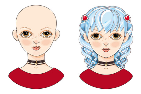 Avatar beautiful girl with blue hair. Illustration