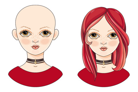 Avatar beautiful redheaded girl. Cartoon style. Curly and shaved naked teen. Portrait of a woman. Vector isolated picture. The Ombre hair coloring Illustration