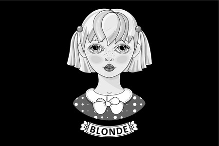 Beautiful blonde. Black and white image. Vector. Grayscale Illustration