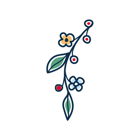 Summer and spring twig with flowers and leaves. Isolated vector on white background
