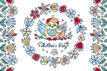 Mother's Day greeting card. The owl mommy and a bird on a twig. Colorful spring flowers