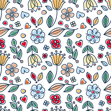 Spring and summer tile ornament. Scandinavian style. Cute cartoon vector. Twigs, leaves and flowers. Spring and summer ornament. Seamless floral pattern.