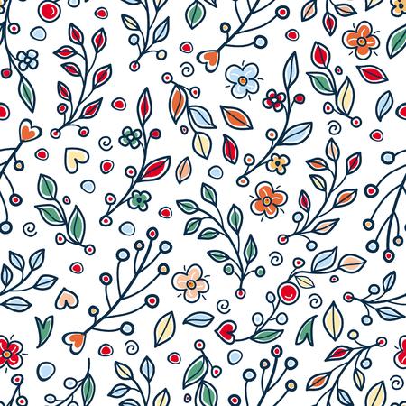 Seamless floral pattern in rustic folk style 向量圖像