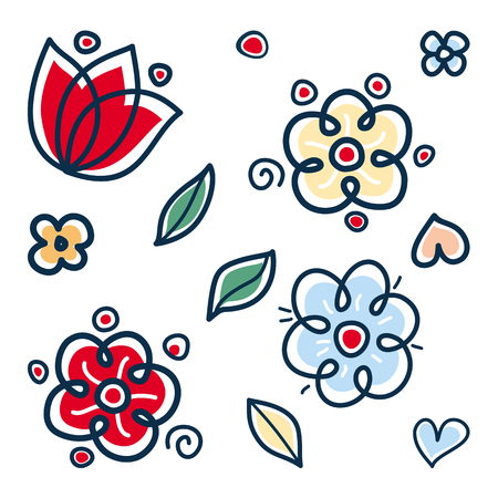 Flowers pattern with abstract scandinavian florals. Folk flowers isolated 向量圖像