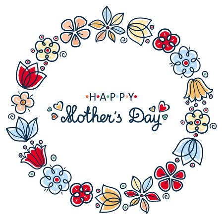 Mother's Day greeting card template. Round floral wreath