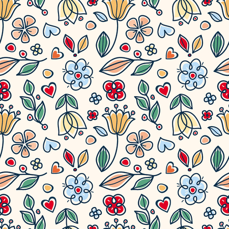Seamless floral pattern in rustic folk style Illustration