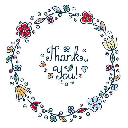 Thank You handwritten inscription. Retail text in round floral frame rustic folk style. Round floral wreath Ilustrace
