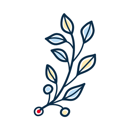 Rustic twig with yellow and blue leaves. Provencal style. Vector isolated design element