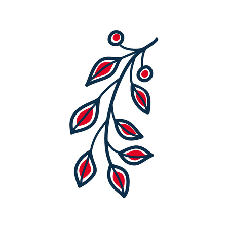 Contour twig with red leaves rustic folk style isolated vector.