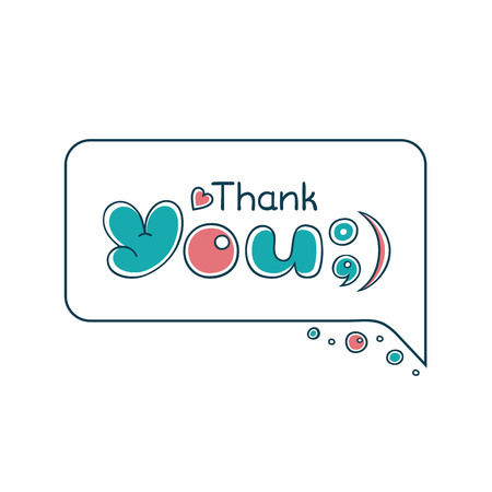 Thank You handwritten inscription. Cartoon bubble comic style. Trendy flat geometric print, retro style. Simple minimal typography phrase. Sales retail phrase